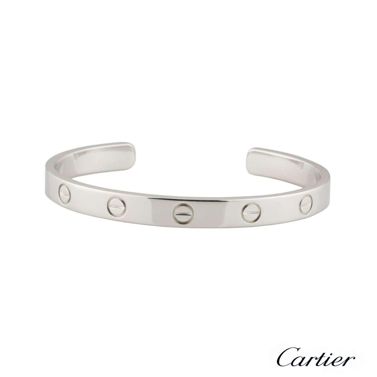 Cartier White Gold Love Cuff Bracelet Size 20 B6032520